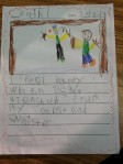 "Bodhi wrote about getting attention from his dads!  Too cute!  How great is that inventive spelling for ""attention""?  LOVE!"