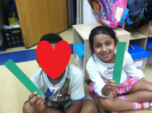 Nikita and a classmate found their partners in our length match activity!